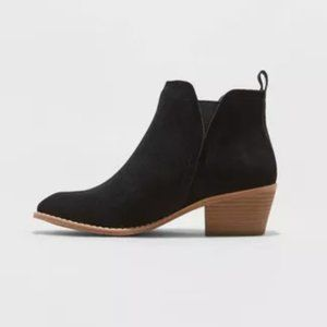 Sheyla Faux Suede Black Ankle Booties